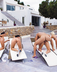 Two blonde and two brunette girls share lucky dick in Ibiza