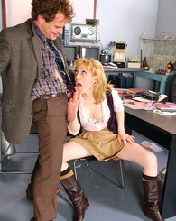 Blond babe Lily LaBeau sucking dick and getting drilled