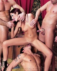 Cute slim slut Anneke sucks, fucks three guys having big fun