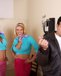 Jessica Lynne and Krissy Lynn double team this hard greaser stud