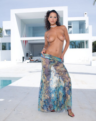 Angel Dark, sweet Ibiza babe, in hard threesome by the pool