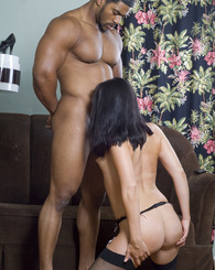 Hot Ashley Blue does blowjob, anal and interracial action