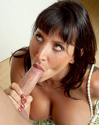 Lezley Zen takes advantage of a young exterminator's cock.