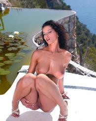 Sexy big boob babe Angel Dark is double penetrated in Ibiza
