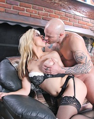 Busty blond Sarah Vandella riding rough on a big dick